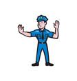 Traffic Policeman Stop Hand Signal Cartoon vector image