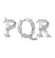 tropical floral letter pqr vector image