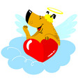valentines day dog character dog in cupid fancy vector image