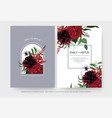 wedding invite cards set burgundy dahlia flowers vector image vector image