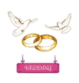 Wedding rings and pigeons vector image