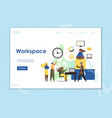 workspace website landing page design vector image vector image