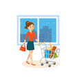 young woman makes a major purchase in the mall vector image vector image