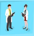 medical staff man and woman medical examination vector image
