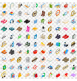 100 commercial icons set isometric 3d style vector image vector image