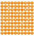 100 trophy and awards icons set orange vector image vector image