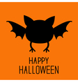 Black bat silhouette Happy Halloween card Flat des