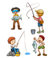 A sketch of men fishing vector image
