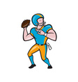 American Football Quarterback QB Throwing Cartoon vector image vector image