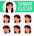 asian teen girl avatar set face emotions vector image vector image