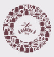 bakery icons in round frame composition vector image