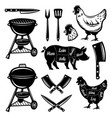 barbecue and butchery shop set objects vector image