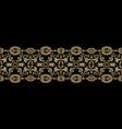 baroque seamless border pattern black damask vector image vector image