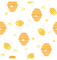 bee and bee hive seamless pattern background vector image vector image