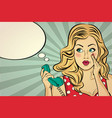 blonde lady gossip at retro phone vector image