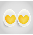boiled egg with yolk in heart shape vector image vector image