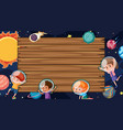 border template with space theme in background vector image vector image
