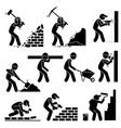 builders constructors workers building houses vector image