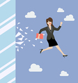 Business woman jump and broke glass window vector image