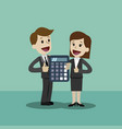 businessman and business woman with calculator vector image vector image