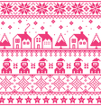 Christmas jumper or sweater pink seamless pattern vector image vector image
