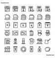 coffee shop outline icons perfect pixel vector image vector image