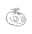 contour drawing of a cute pumpkin for halloween vector image vector image