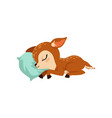 cute little fawn character slaaping on a pillow vector image vector image