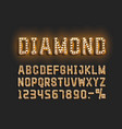 diamond golden font alphabet number sign vector image vector image