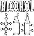 doodle science molecule alcohole bottle vector image vector image