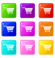 empty supermarket cart icons 9 set vector image vector image