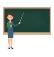 female teacher standing near blackboard vector image vector image