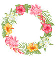 frame with tropical flowers and leaves vector image
