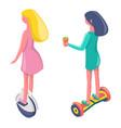 girls standing on segway and unicycle set vector image vector image