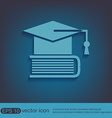 Graduate hat on the book icon teachings vector image vector image