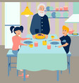 grandpa prepares breakfast for grandchildren vector image vector image