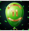 Green balloon with golden inscription eleven years vector image vector image