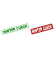 grunge winter check rubber prints with rounded vector image vector image