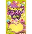 Happy Birthday card with cake balloon and cupcake vector image
