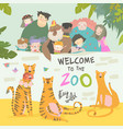 happy children with parents in zoo with tigers vector image