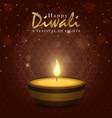 happy diwali festival card gold indian diya candle vector image vector image