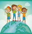 happy kids cartoon vector image vector image