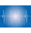 heart rhythm on the blue display vector image vector image