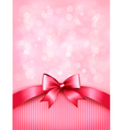 Holiday pink background with gift glossy bow and vector image vector image
