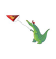 humanized crocodile kid launching kite in the air vector image