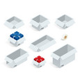 isometric collection of various cardboard boxes on vector image
