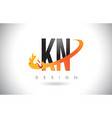 kn k n letter logo with fire flames design and vector image vector image