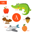 Letter A Cartoon alphabet for children Alligator vector image vector image