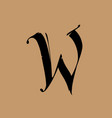 letter w in gothic style alphabet the symbol vector image vector image