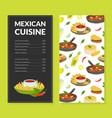 mexican cuisine traditional menu template vector image vector image